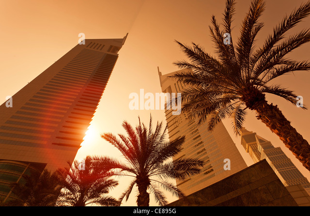 Dubai, Emirates Towers at Sunrise - Stock Image