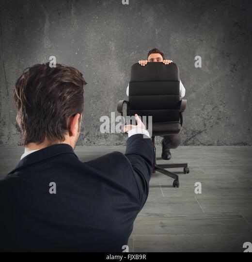 Fired afraid employee - Stock Image