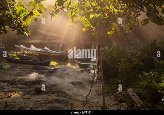 Traditional fishing outpost in Ilhabela, Brazil - Stock Image
