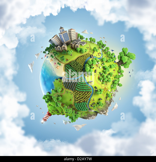 globe concept showing a green, peaceful and idyllic life style in the world in a cartoony style - Stock Image