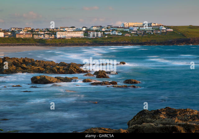 Evening over Fistral Beach and town of Newquay, Cornwall, England - Stock Image
