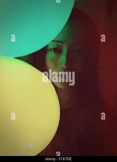 Woman and balloons - Stock-Bilder