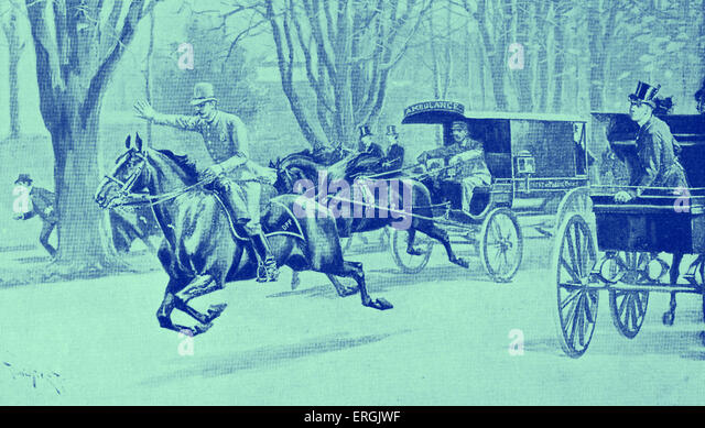 An accident in Central Park, New York, USA. Policeman on horseback makes way for the ambulance carriage. Late nineteenth - Stock Image