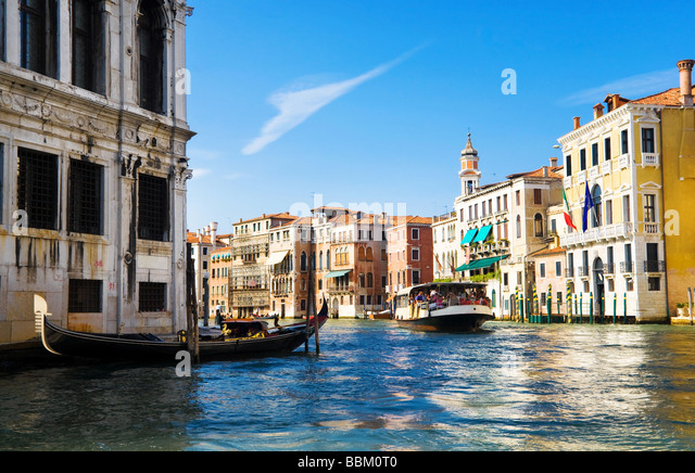 Venice Grand Canal view Traditional houses and boats - Stock Image