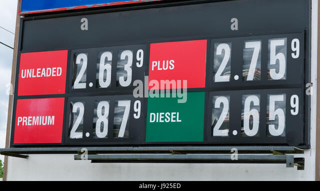 Gas Price Reader Sign at Fueling Station - Stock Image