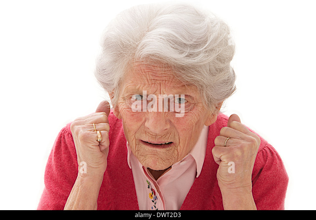 Angry elderly woman - Stock Image