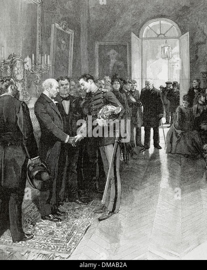 Offer one's condolences to a bourgeois family. 1902. Engraving by L. Rouseau. - Stock Image