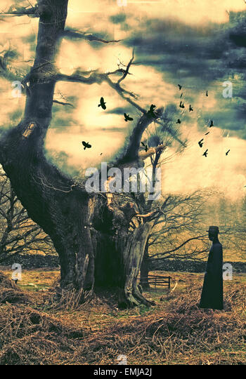 Surreal, surrealism, thriller, horror, storm, mystery, tree, lightning, cloak, mysterous man, inspector, clouds, - Stock Image