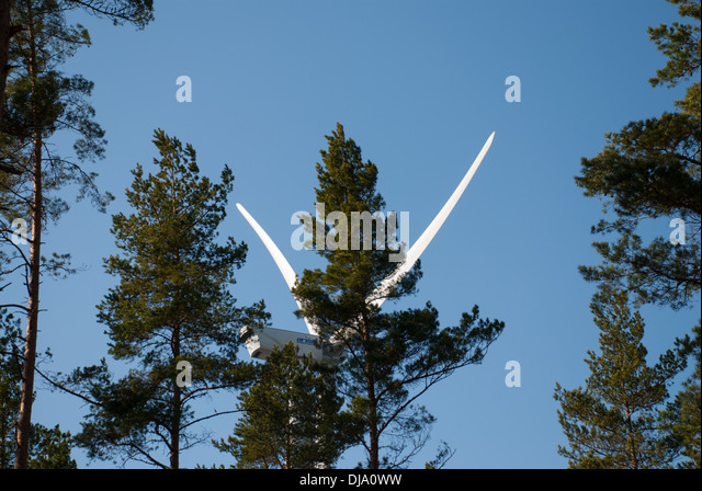 Windmill in forest - Stock Image
