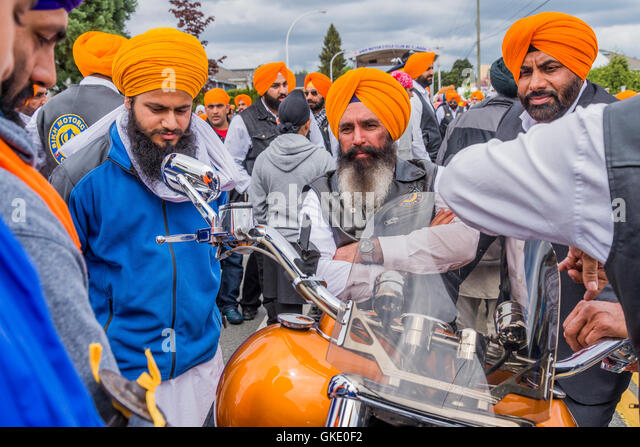 Sikh Motorcycle Club, Vaisakhi Parade and Celebrations, Surrey, British Columbia, Canada, - Stock Image