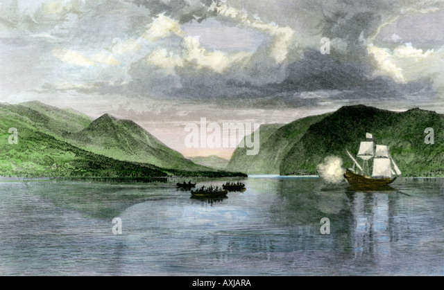 Henry Hudson ship Half Moon meets Native Americans in the Hudson River highlands in 1609 - Stock Image