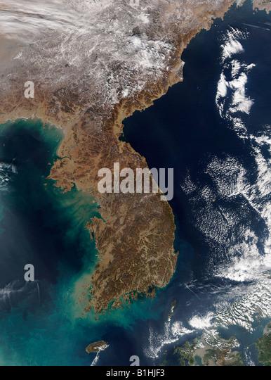Satellite Image of Korea - Stock Image