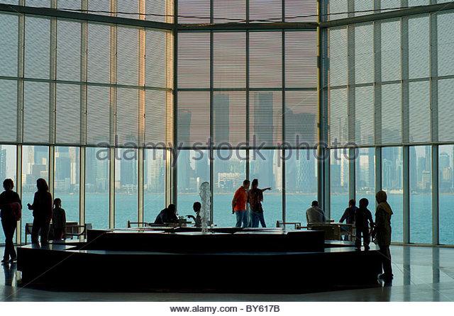 Doha skyline Museum Of Islamic Art Qatar - Stock Image