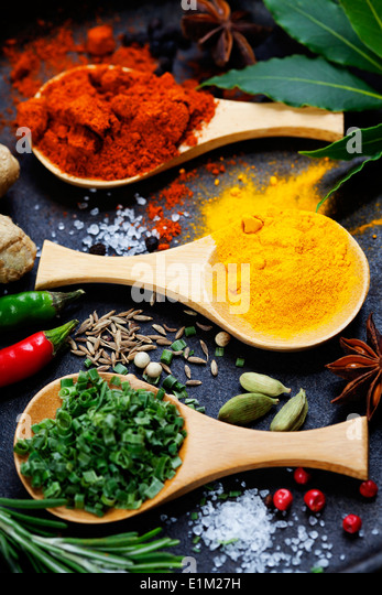 Spices and herbs. Food and cuisine ingredients. - Stock Image