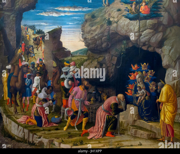 Scenes from the Life of Christ, by Andrea Mantegna, 1463-4, Uffizi Gallery, Florence, Tuscany, Italy, Europe - Stock Image