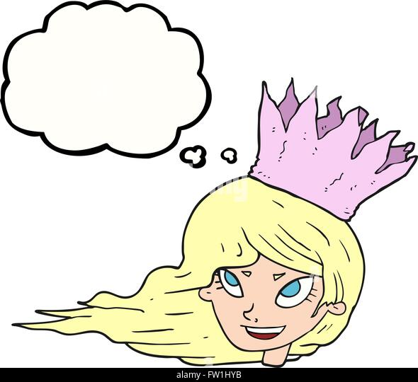 freehand drawn thought bubble cartoon woman with blowing hair - Stock-Bilder