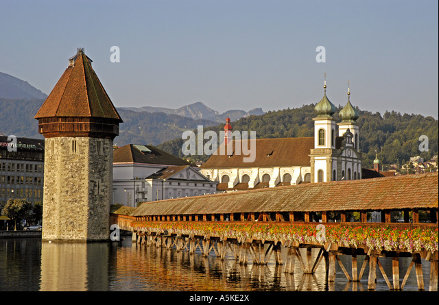 Lucerne Luzern Switzerland Chapel Bridge The Kapellbruecke open space copy space text space type space - Stock Image
