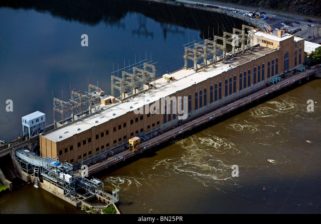 aerial view above Safe Harbor Dam Hydroelectric Station Susquehanna River  Lancaster York Pennsylvania - Stock Image