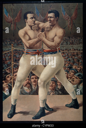 Charlie Mitchell vs. James Corbett Boxing Match, Jacksonville, Florida, USA, Lithograph, 1893 - Stock Image