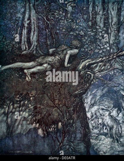 'And there I learnt what love was like', 1924.  Artist: Arthur Rackham - Stock Image