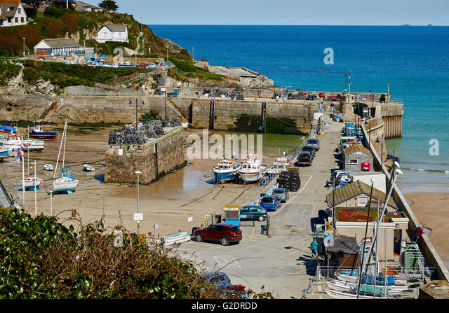 Newquay Harbour. There has been a small harbour here since 1439 - Stock Image