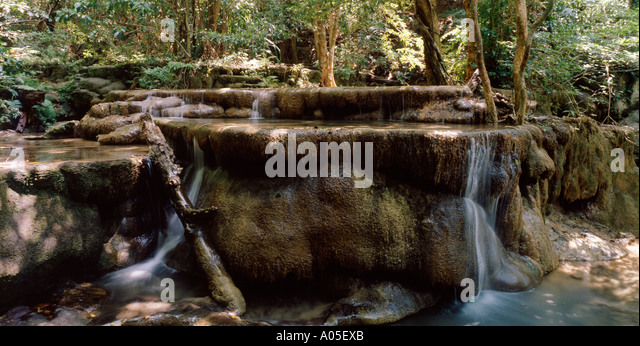 Thailand Erawan National Park Kanchanaburi waterfall - Stock Image