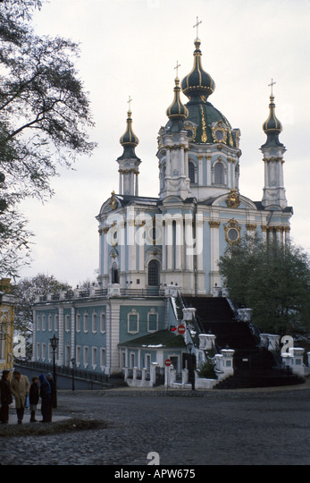 Ukraine Eastern Europe Kiev Andrevskaya Church - Stock Image