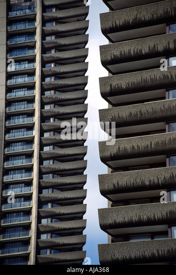 High Rise Blocks at The Barbican Complex London England - Stock Image