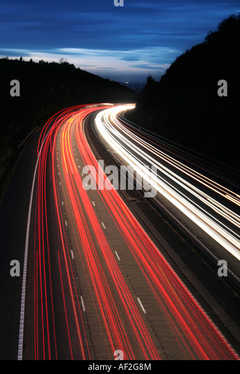 car lights on the M40 motorway - Stock Image
