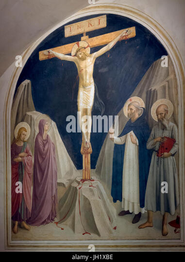 Crucifixion with the Virgin Mary and Saints John, Daminic and Jerome, Cell 4,by Fra Beato Angelico, 1441-1442, Convent - Stock Image