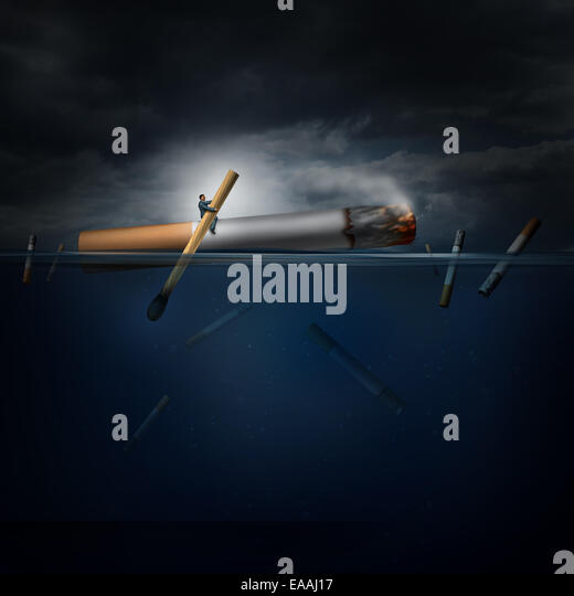 Smoking hazard concept as a person on a dangerous journey in an ocean rowing a giant cigarette with a match as a - Stock-Bilder