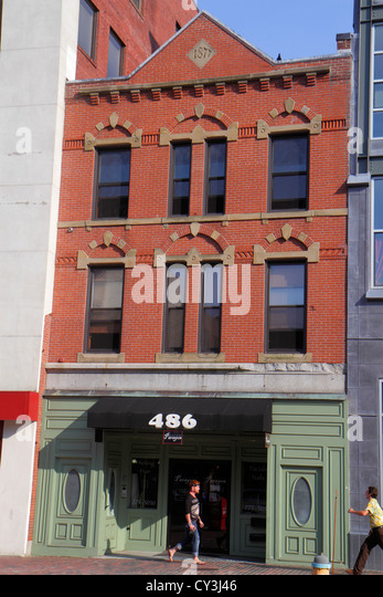 Maine Portland Congress Street historical building red brick - Stock Image