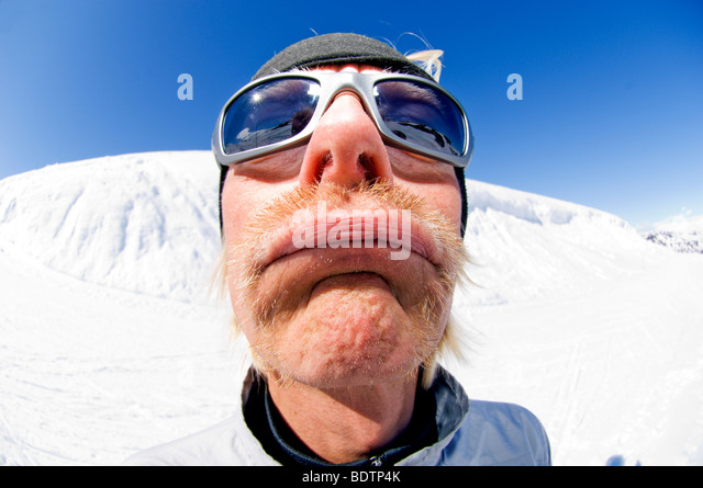 A moustached man Riksgransen - Stock Image