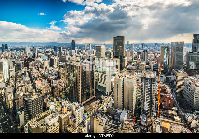 Osaka Japan aerial cityscape - Stock Image