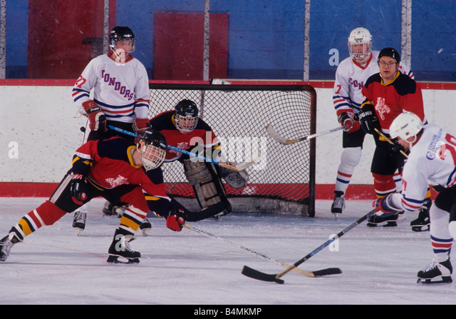 Ice Hockey game action - Stock Image