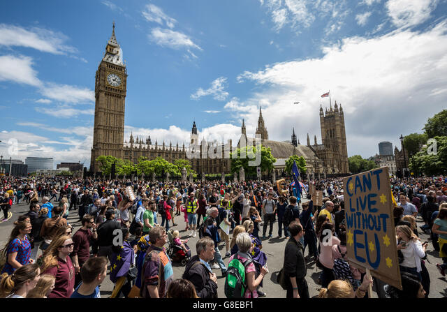 London, UK. 2nd July, 2016. 'March For Europe' protest against the Brexit EU Referendum saw tens of thousands of - Stock Image