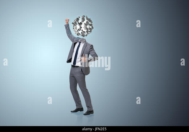 Businessman with dollars instead of head - Stock Image