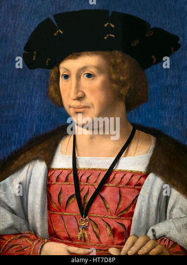 Portrait of Floris van Egmond, by Jan Gossaert, 1519, Royal Art Gallery, Mauritshuis Museum, The Hague, Netherlands, - Stock Image