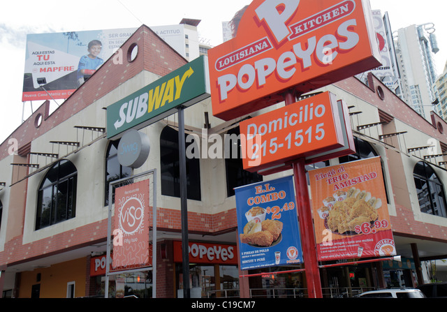 Panama City Panama Marbella fast food restaurant dining business American chain global corporation franchise Subway - Stock Image