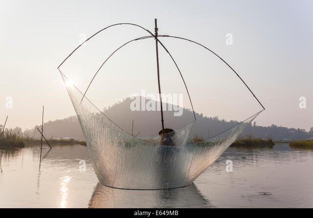 Fishing, Loktak Lake, nr Imphal, Manipur, India - Stock Image