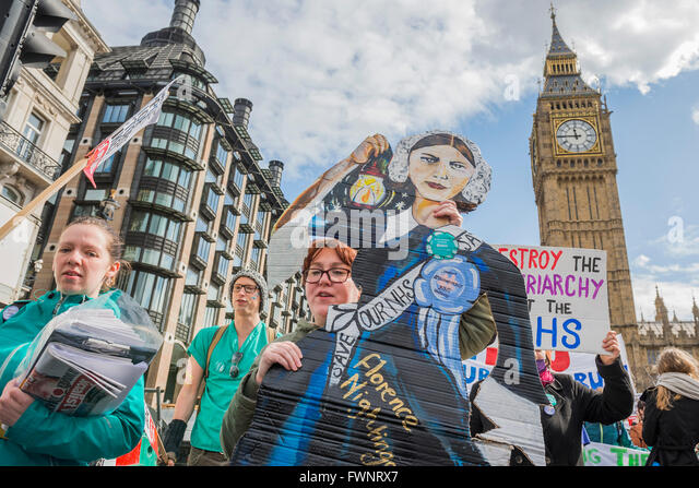 London, UK. 6th April, 2016. A cardboard Florencs Nightingale joins the Nurses and doctors as they march on the - Stock Image