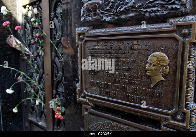 Evita Peron Grave Monument at  La Recoleta Cemetery,  Buenos Aires, Argentina - Stock Image