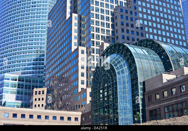 Close up of dense modern office buildings - Stock Image