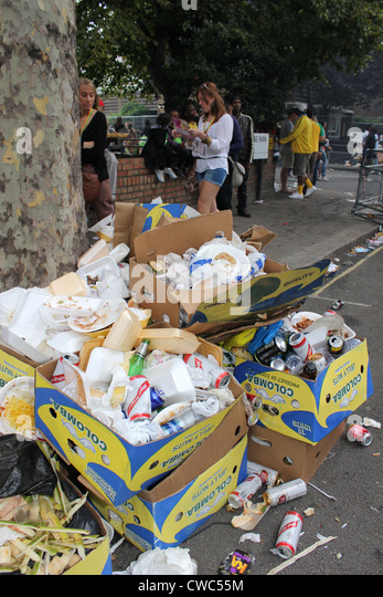 boxes of rubbish left in the street - Stock Image