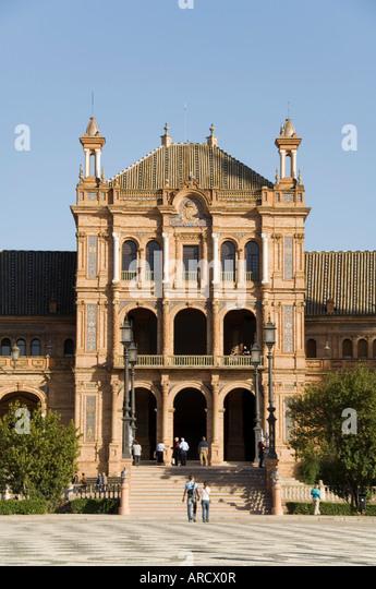 Plaza de Espana erected for the 1929 Exposition, Parque de Maria Luisa, Seville, Andalusia (Andalucia), Spain, Europe - Stock Image