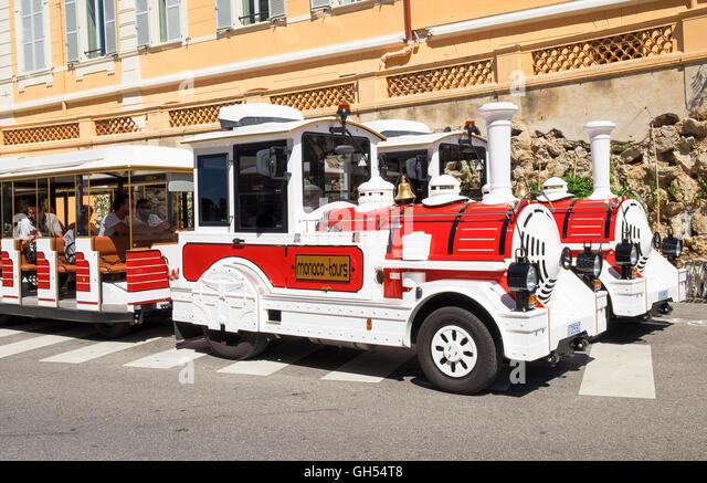 Little red & white tour trains in Monaco - Stock Image