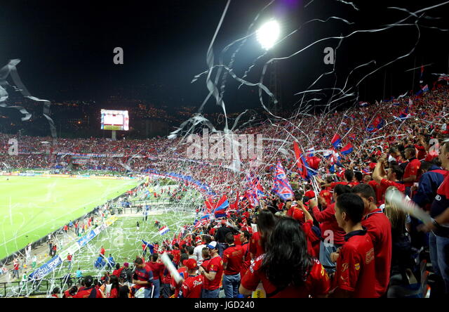 Medellin fans in the Atanasio Girardot stadium, Colombia - Stock Image