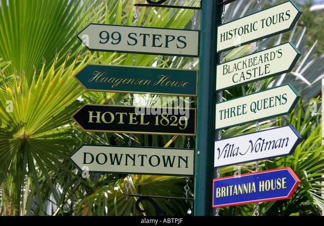 St. Thomas USVI Charlotte Amalie Blackbeard's Hill 99 Steps directional signs - Stock Image