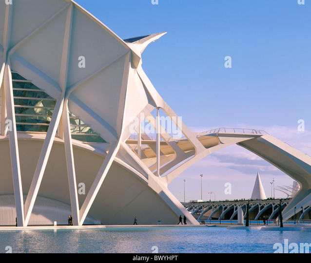 Arts and Science city outside Calatrava modern building construction Spain Europe Valencia - Stock-Bilder