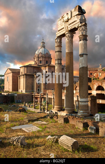 The Temple of Castor and Pollux, The Forum Rome - Stock Image